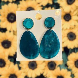 Blueish Green Drop Earrings-Forever 21